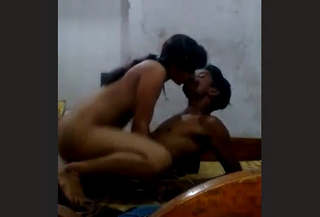 Horny couple kissing and fucking